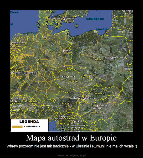 Mapa Autostrad W Europie Demotywatory Pl