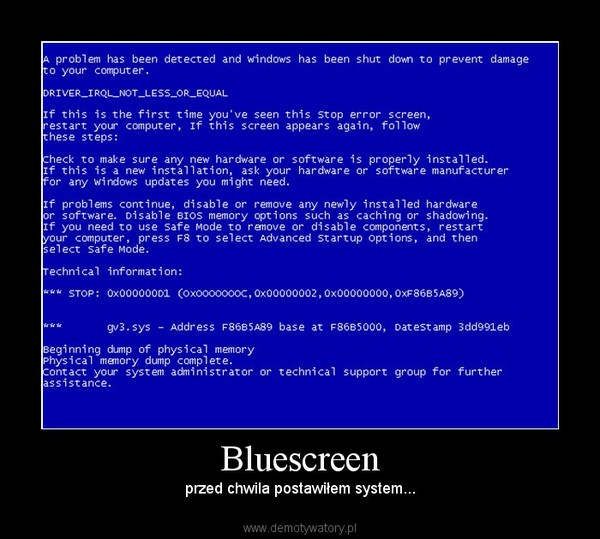an analysis of the blue screen of death