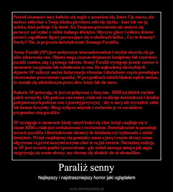 Paraliż Senny Demotywatory Pl
