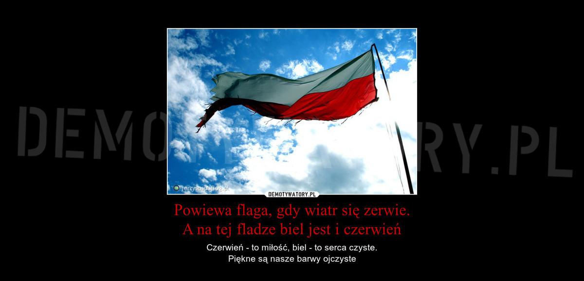 Powiewa Flaga Gdy Wiatr Się Zerwie A Na Tej Fladze Biel