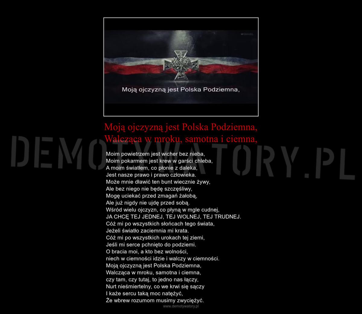 Moją Ojczyzną Jest Polska Podziemna Walcząca W Mroku