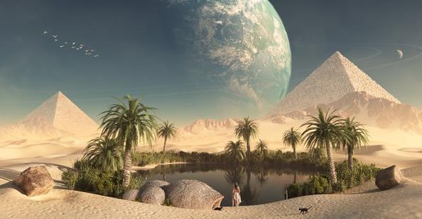 Znalezione obrazy dla zapytania fatamorgana na pustyni