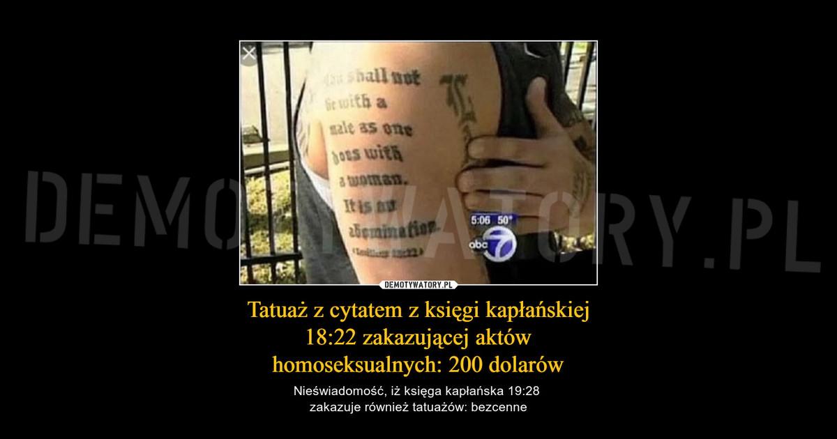 Tatuaż Z Cytatem Z Księgi Kapłańskiej 1822 Zakazującej