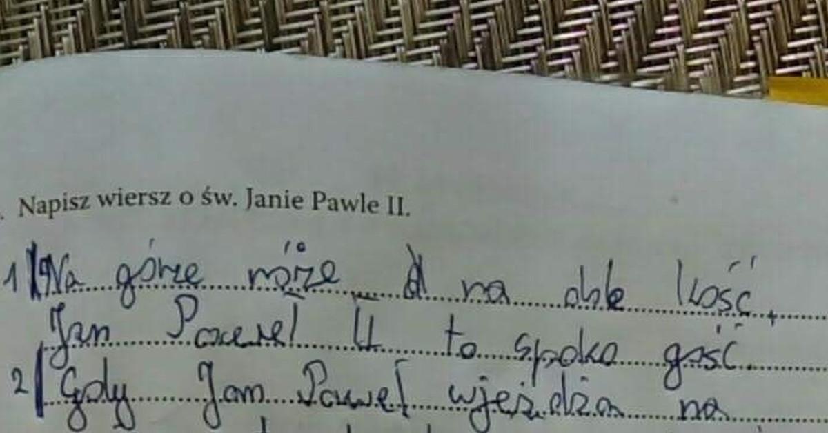 Wiersz Chłopaka Z Podstawówki O Janie Pawle Ii Na Lekcję