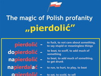 "Świat odkrywa magię  polskiego języka –  The magic of Polish profanity ""pierdolić"" to fuck, to not care about something, to say stupid or meaningless things pierdolić dopierdolić - napierdolić - to beat, to add much of something, napierdalać - to run, to hurt, to play, to beat opierdolić - to eat, to scold, to sell odpierdolić - to do something crazy, to give popierdolić - to make mistake, to fuck podpierdolić - to tell on someone, to steal przypierdolić - to hit, to stuck or point out some przepierdolić - rozpierdolić - to destroy something, to win, to say spierdolić - upierdolić wpierdolić - wypierdolić - zapierdolić - to kill, to steal, to get drunk zapierdalać - to beat, to scoff, to add much of something get drunk someone a break, to look nice issue to lose something funny to run away quickly, to fall off, to fart, to botch, to break something to bite, to get dirty, to harm someone, to cut something off, to get drunk to beat, to eat, to fall into something, to throw inside something to throw someone out, to get out of somewhere, to hit, to fall to work hard, to do something fast"